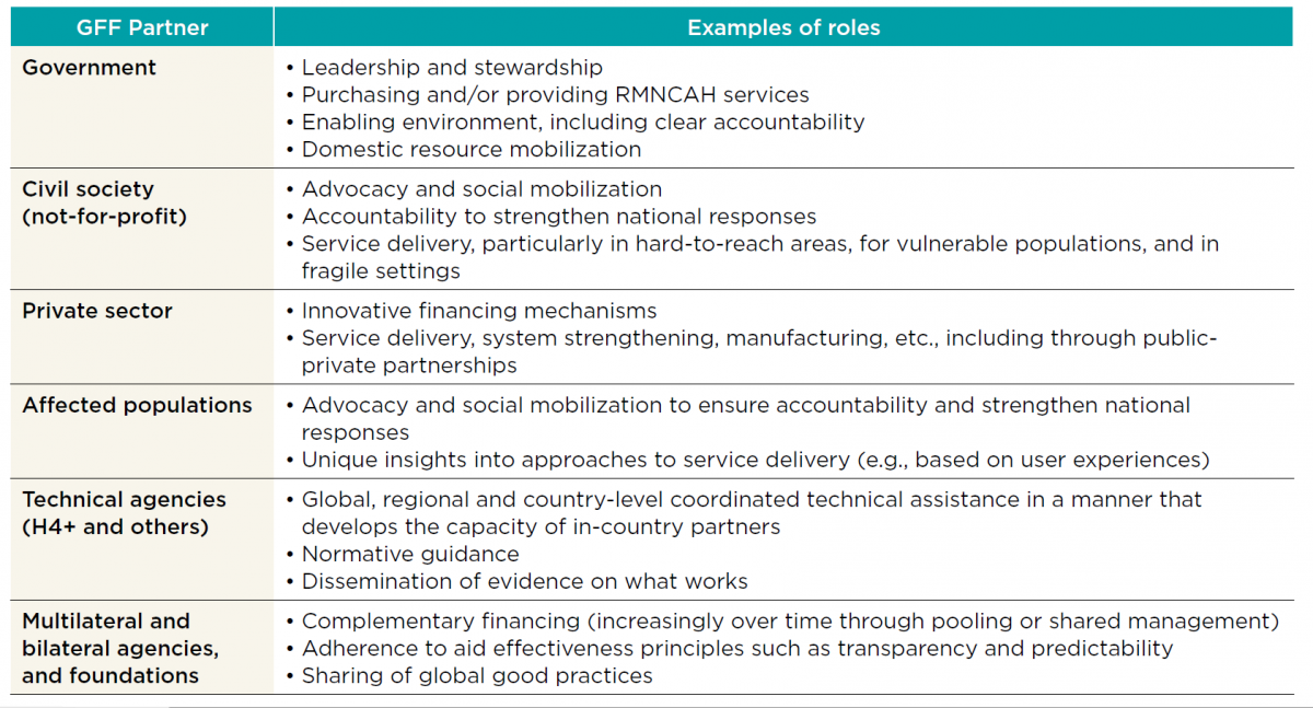 Examples of GFF partner roles