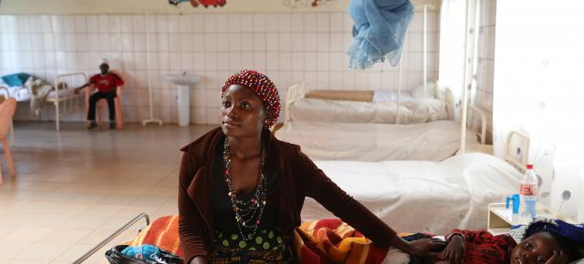 Ntobejia Lizette 26 years old, seeks medical attention for her son at John the Baptist Catholic Health Center (NDOP) in Bamunka, Cameroon