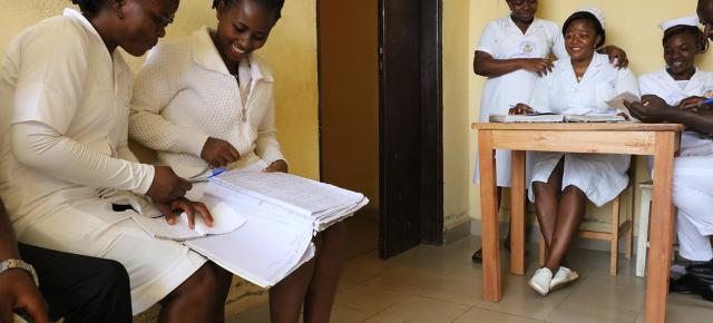 Student nurses prepare for the morning rounds at the Ndop District Hospital in Bamenda, Cameroon