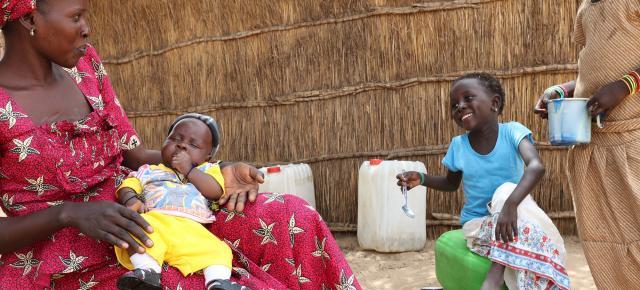 Arame Diaw, 30 watches over her children in Balol Elimane village, Senegal